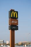 McDonalds logos. Mc Donalds located in Frydek-Mistek near Ostrava, Moravia, Czech Republic Stock Photos