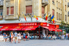 McDonalds restaurant at Piata Victoriei, Timisoara, Romania Royalty Free Stock Photos