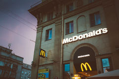 McDonalds restaurant sign. McDonald's Corporation Royalty Free Stock Photography