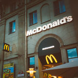 McDonalds restaurant sign. McDonald's Corporation Royalty Free Stock Images