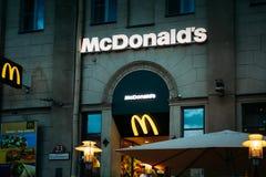 McDonalds restaurant sign. McDonald's Corporation Stock Photo