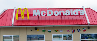 McDonals Sign over the roof of a store Royalty Free Stock Photo