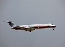 Mcdonell Douglas DC-9 (MD-80) jetliner. Douglas DC-9 (MD-80) passenger jetliner approaching runway Royalty Free Stock Image