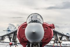 McDonnell Douglas AV - 8B+ Harrier II, Italian cockpit. The McDonnell Douglas now Boeing AV-8B Harrier II is a single engine ground attack aircraft that royalty free stock photo
