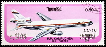 McDonnell Douglas DC-10, Flugzeuge serie, circa 1986 lizenzfreie stockfotos