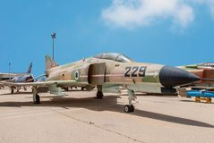 McDonnell Douglas F-4E Super Phantom aircraft. HATZERIM, ISRAEL - APRIL 27, 2015: McDonnell Douglas F-4E Super Phantom aircraft at the museum of the Air Force Stock Image