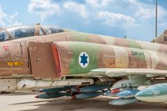 McDonnell Douglas F-4E Super Phantom aircraft. Hatzerim, Israel -  April 27, 2015: McDonnell Douglas F-4E Super Phantom aircraft at the museum of the Air Force Royalty Free Stock Images