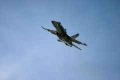 McDonnell Douglas F/A-18 Hornet F 18 jet fighter. Air show royal air tattoo blue sky fast loud army air force navy RAF Fairford Royalty Free Stock Photos