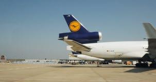 McDonnell Douglas MD-11F Lufthansa Cargo. FRANKFURT, GERMANY - CIRCA 2016: Driving through airport with  McDonnell Douglas MD-11F of Lufthansa Cargo plane stock footage