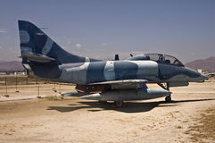 McDonnell-Douglas Skyhawk. This is a picture of a McDonnell-Douglas TA-4J Skyhawk. This Navy jet was used as a trainer.  These fighter jets were used extensively Stock Photo