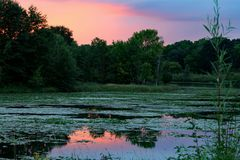 McDonough jezioro przy zmierzchem Zdjęcie Stock