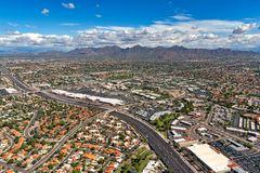 McDowell Mountains in Scottsdale, Arizona provide a scenic backdrop for this tourist destination. McDowell Mountains in Scottsdale, Arizona from above the Loop stock photo