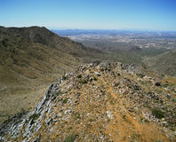 In the McDowell's. View of Scottsdale, Arizona from the McDowell Mountains stock photography