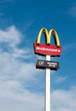 McDrive in Vilnius. Mcdonald's sign and 24 open hours in Vilnius, Lithuania royalty free stock image