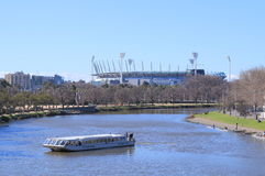 MCG and Yarra river city view Melbourne. Sightseeing boat cruises in Yarra river, MCG in background Royalty Free Stock Photography