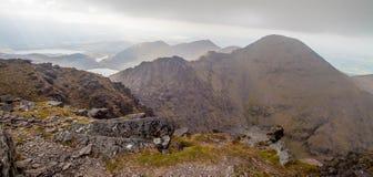 McGillycuddy`s Reeks mountain range. Panoramic view of the McGillycuddy`s Reeks mountain range, County Kerry, Ireland Stock Photography