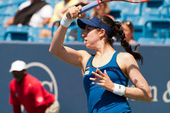 McHale 006. Mason, Ohio - August 16, 2015: Christina McHale returns a shot in second round qualifiying at the Western and Southern Open in Mason, Ohio, on August Royalty Free Stock Image