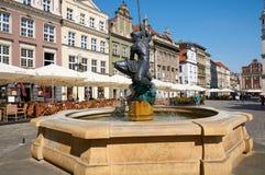 Mąci fontannę, stary Targowy kwadrat poznan Fotografia Stock