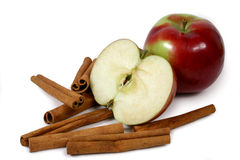 Mcintosh apples and cinnamon. Stick isolated on white background Royalty Free Stock Image