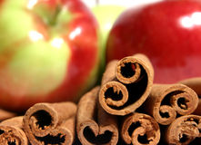 Mcintosh apples and cinnamon royalty free stock photos