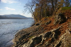 Mckee's Rocks. On the Susquehanna River is best seen from a rest stop and picnic area located on Route 11/15, Snyder County, Pennsylvania stock photography