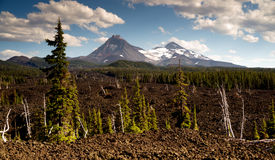 Mckenzie Pass Three Sisters Cascade Mountain Range Lava Field Stock Photo