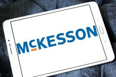 McKesson Corporation logo. Logo of McKesson Corporation on samsung tablet . McKesson Corporation is an American company distributing pharmaceuticals at a retail Stock Photo
