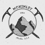 McKinley in Alaska, USA outdoor adventure logo. Stock Photo