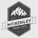McKinley in Alaska, USA outdoor adventure logo. Pennant expedition vector insignia. Climbing, trekking, hiking, mountaineering and other extreme activities Royalty Free Stock Photography