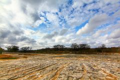 McKinney Falls State Park. The volcanic and limestone rock cover a big section of McKinney Falls State Park during winter, where visitors can hike, swim and stock image