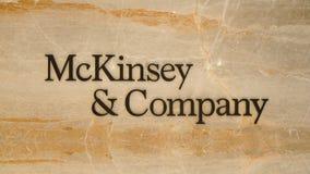 McKinsey marcado novo e logotipo de Empresa escrito no mármore fotos de stock royalty free