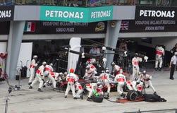 轮胎的Jenson Button坑 免版税库存图片