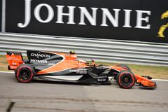 McLaren formuła jeden jadący Stoffel Vandoorne Obrazy Royalty Free