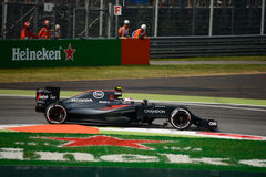 McLaren Honda Formula 1 at Monza driven by Jenson Button. McLaren-Honda MP4-31 during Friday free practice session of the 2016 Formula One Italian Grand Prix at Stock Photos