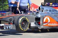 McLaren laufendes Auto in 2012 F1 kanadisches großartiges Prix lizenzfreies stockfoto