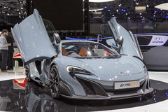 2015 McLaren 675LT. Geneva, Switzerland - March 4, 2015: 2015 McLaren 675LT presented on the 85th International Geneva Motor Show Stock Image