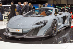 2015 McLaren 675LT. Geneva, Switzerland - March 4, 2015: 2015 McLaren 675LT presented on the 85th International Geneva Motor Show Royalty Free Stock Photo