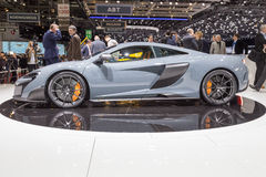2015 McLaren 675LT. Geneva, Switzerland - March 4, 2015: 2015 McLaren 675LT presented on the 85th International Geneva Motor Show Royalty Free Stock Photography