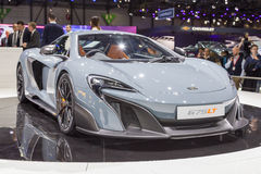 2015 McLaren 675LT. Geneva, Switzerland - March 4, 2015: 2015 McLaren 675LT presented on the 85th International Geneva Motor Show Royalty Free Stock Images