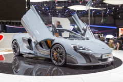 2015 McLaren 675LT. Geneva, Switzerland - March 4, 2015: 2015 McLaren 675LT presented on the 85th International Geneva Motor Show Royalty Free Stock Image