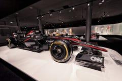 Mclaren MP4-30 di F1 a cui ha fatto concorrenza Fernando Alonso durante l'anno Immagini Stock Libere da Diritti