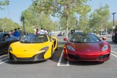 Mclaren P1 and McLaren 12C on display. Pasadena, California, USA - March 21, 2015 - Mclaren P1 and McLaren 12C  at the Morning Octane car show Stock Image