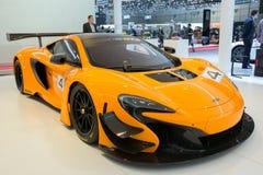McLaren 650S GT3 sports car. GENEVA, SWITZERLAND - MARCH 2, 2016: McLaren 650S GT3 racer sports car shown at the 86th International Geneva Motor Show in Palexpo Stock Photos