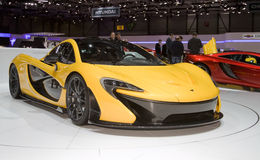 McLaren P1 - Geneva Motor Show 2013. McLaren's P1 is a hybrid hypercar powered by a 3.8-litre twin-turbo V8 engine producing 727 bhp and combined with a KERS royalty free stock images