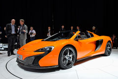 McLaren 650S Spider. Car pictured at the Geneva Motor Show in Switzerland, 2014 Stock Photos