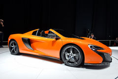 McLaren 650S Spider. Pictured at the Geneva Motor Show in Switzerland, 2014 Royalty Free Stock Photo
