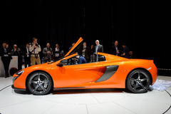 McLaren 650S Spider. Side view of a McLaren 650S Spider motor car at the Geneva Motor Show in Switzerland in 2014 Royalty Free Stock Images
