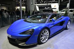 McLaren 570S Spider sportscar. Guangzhou, China - November 18, 2017: The new McLaren 570S Spider sportscar was exhibited in the 15th China Guangzhou stock photo