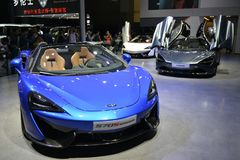 McLaren 570S Spider sportscar. Guangzhou, China - November 18, 2017: The new McLaren 570S Spider sportscar was exhibited in the 15th China Guangzhou royalty free stock photo