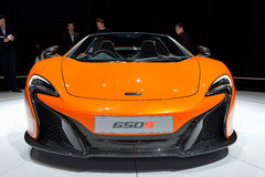 McLaren 650S. Sports car pictures at the Geneva Motor Show in Switzerland, 2014 Stock Photography